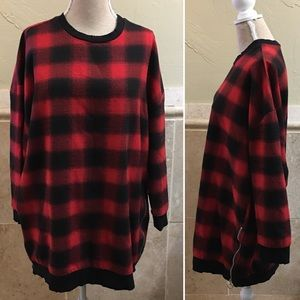 Zara Oversized Check Red Black Sweatshirt Size M